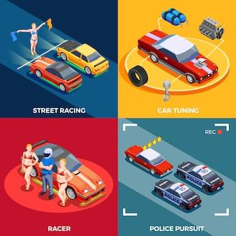 Conceito de design de corridas de automóveis