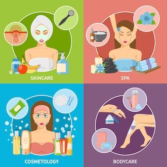 Conceito de design de cosmetologia de pele e corpo