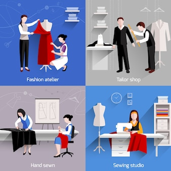 Conceito de design de costura com loja de estúdio de alfaiate de moda atelier ícones planas ilustração vetorial isolado