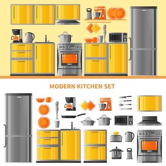 Conceito de design de cozinha com técnica doméstica