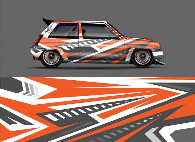 Conceito de design de decalque de carro retrô de corrida retrô