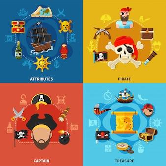 Conceito de design de desenho animado pirata