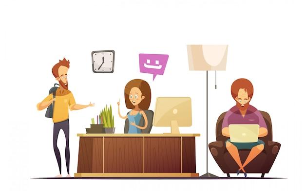 Conceito de design de desenhos animados de recepção de hostel com administrador falando