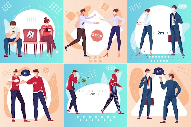 Conceito de design de distância social com doodle personagens humanos de colegas de trabalho e sinais de parada com ilustração de setas