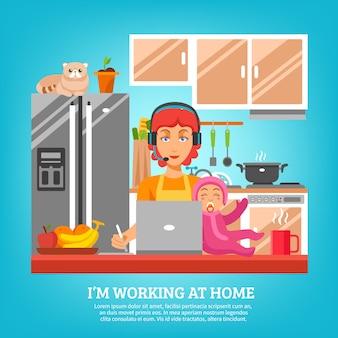 Conceito de design de dona de casa no interior da cozinha