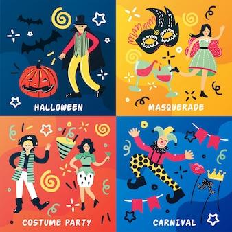 Conceito de design de doodle de carnaval