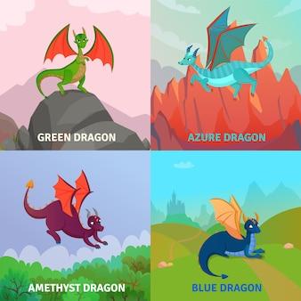 Conceito de design de dragões de fantasia
