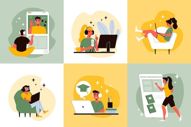 Conceito de design de ensino à distância com doodle de personagens humanos com dispositivos eletrônicos em movimento na ilustração de locais de trabalho