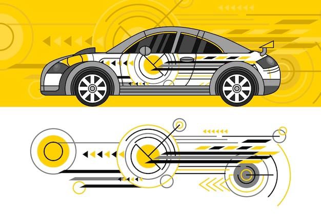Conceito de design de envoltório de carro