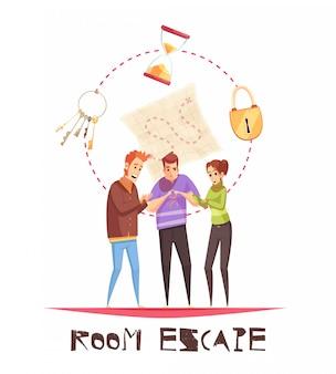Conceito de design de escape de quarto