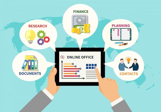 Conceito de design de escritório on-line