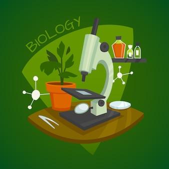 Conceito de design de espaço de trabalho de laboratório de biologia