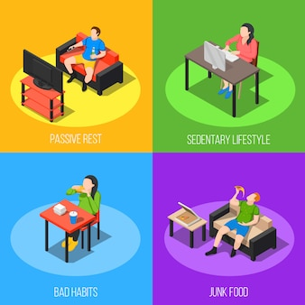 Conceito de design de estilo de vida sedentário