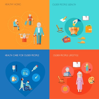 Conceito de design de estilo de vida sênior com envelhecimento saudável pessoas mais velhas riqueza de pessoas idosas ícones de plano de cuidados de saúde isolados ilustração em vetor ...