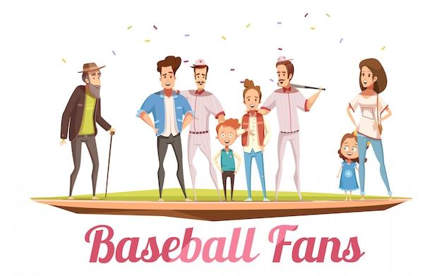 Conceito de design de fãs de beisebol com três gerações da grande família permanente no campo de beisebol ilustração em vetor plana dos desenhos animados