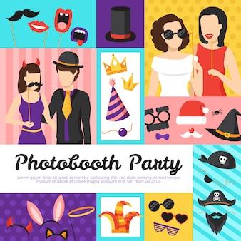 Conceito de design de festa de cabine de foto com chapéus e óculos
