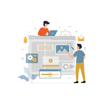 Conceito de design de freelancer online de ilustração vetorial plana de painel de controle
