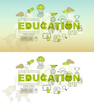 Conceito de design de fundo de banner de educação