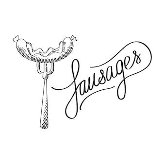 Conceito de design de hora de churrasco tipográfico com inscrição caligráfica elegante salsichas e salsichas no garfo isoladas