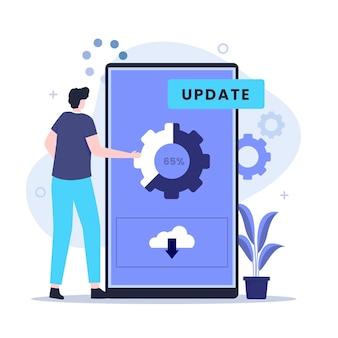Conceito de design de ilustração de melhoria de atualização de sistema. ilustração para sites, páginas de destino, aplicativos móveis, pôsteres e banners