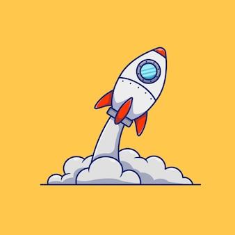 Conceito de design de ilustração vetorial de foguete de decolagem premium