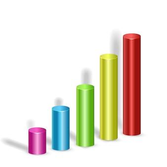 Conceito de design de infográfico de negócios abstrato com colorido 3d cinco colunas em branco isolado