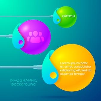 Conceito de design de infográfico de negócios com suportes abstratos segurando bolas coloridas