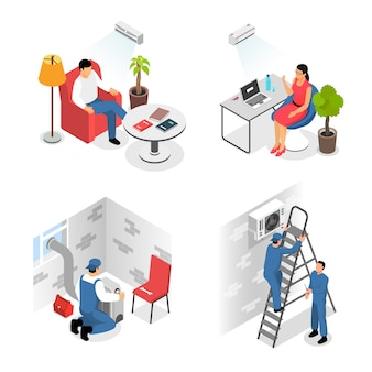 Conceito de design de instalação de condicionadores de ar