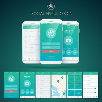 Conceito de design de interface de usuário com diferentes botões de telas e elementos da web para aplicativos sociais móveis