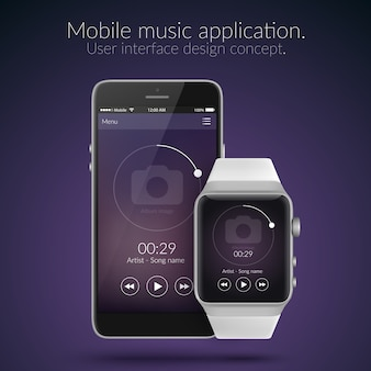 Conceito de design de interface de usuário de aplicativo de música para celular e relógio em cores escuras ilustração plana