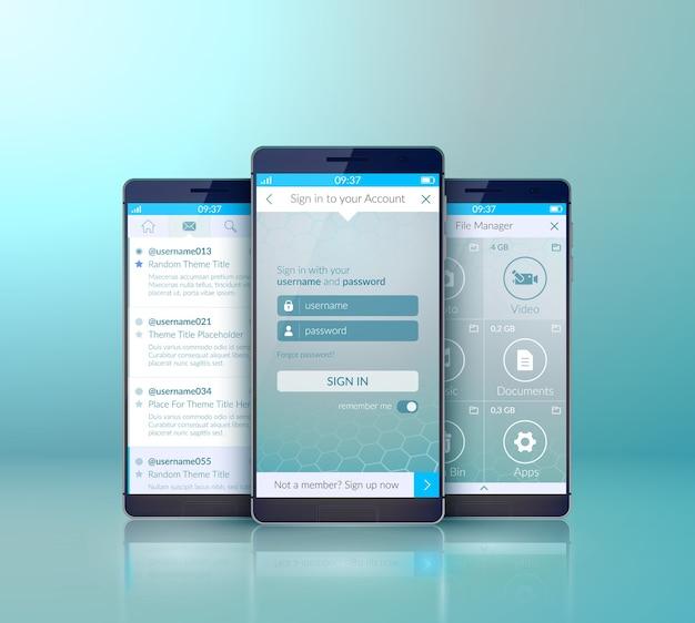 Conceito de design de interface de usuário móvel com três smartphones realistas com luz isolada