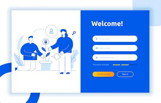 Conceito de design de interface de usuário ux de login e ilustração