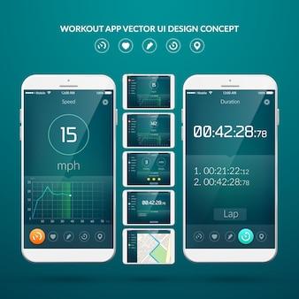 Conceito de design de interface do usuário com elementos da web de aplicativo de treino para ilustração de dispositivos móveis e tablets