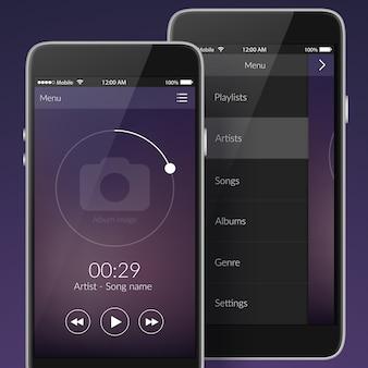 Conceito de design de interface do usuário com elementos para ilustração vetorial isolada de aplicativos móveis