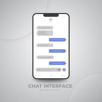 Conceito de design de interface do usuário de interface de chat