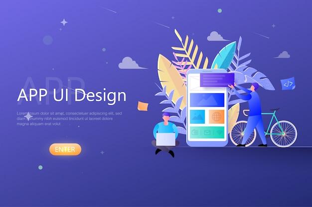 Conceito de design de interface do usuário do aplicativo ux, trabalho em equipe designers trabalhando no desenvolvimento de aplicativos móveis, app edifício para o modelo de página de destino da web