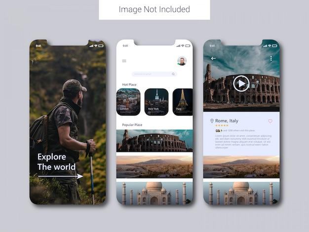 Conceito de design de interface do usuário móvel de aplicativo de viagem