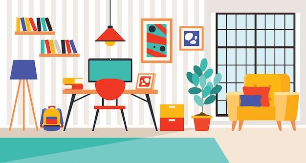 Conceito de design de interiores com móveis planos