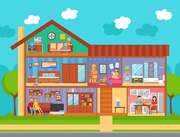 Conceito de design de interiores de casa familiar