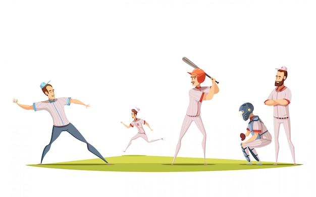 Conceito de design de jogadores de beisebol com figurines de desportista dos desenhos animados, envolvidos no jogo no campo de esportes