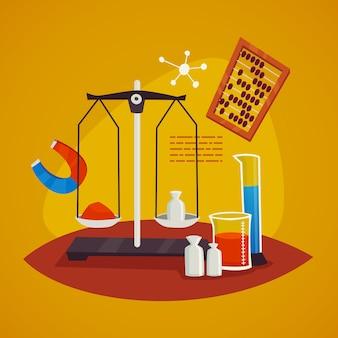 Conceito de design de laboratório de ciências com escalas