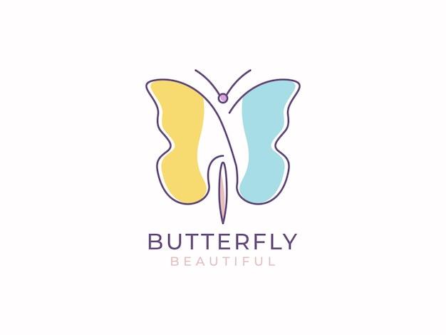 Conceito de design de logotipo bonito de borboleta