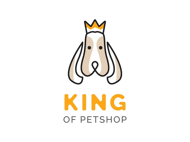 Conceito de design de logotipo da loja de animais de estimação king