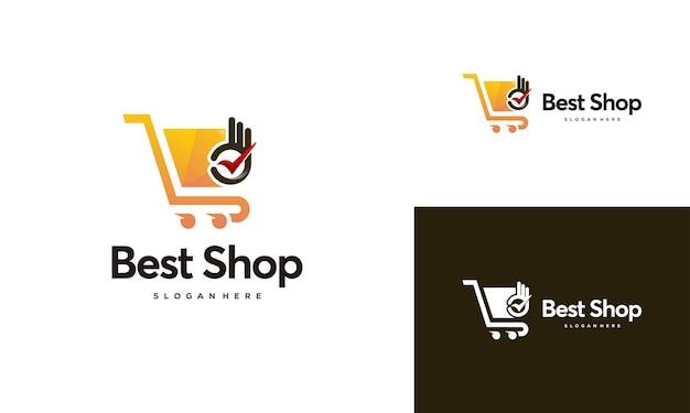 Conceito de design de logotipo da melhor loja, bom modelo de design de logotipo de loja online