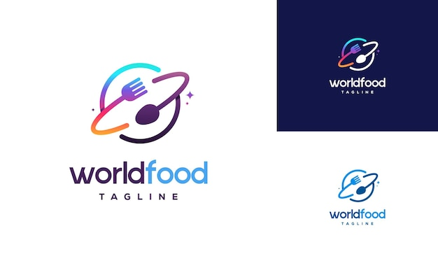 Conceito de design de logotipo da world food, modelo de design de logotipo de restaurante, símbolo de ícone de logotipo
