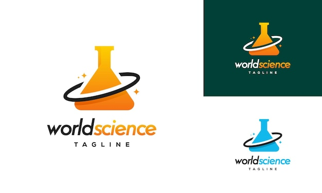 Conceito de design de logotipo da world science, modelo de design de logotipo de laboratório