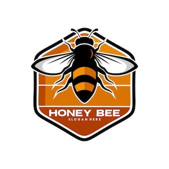 Conceito de design de logotipo de abelha de mel
