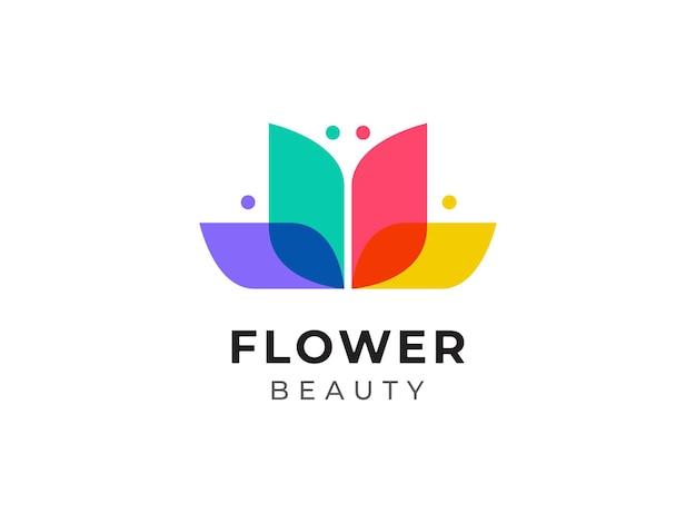 Conceito de design de logotipo de bela flor