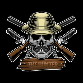 Conceito de design de logotipo de caçador de caveiras