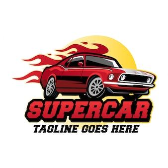 Conceito de design de logotipo de carro super